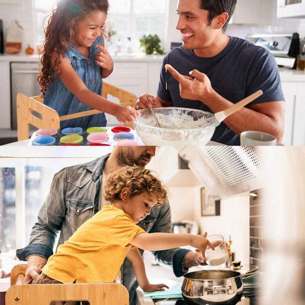 père et enfant faisant la cuisine avec la tour d'observation Montessori